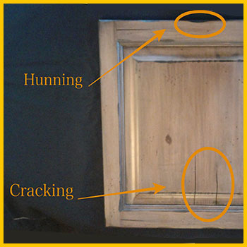 Worm holing is a kitchen cabinet staining and refinishing technique