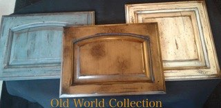 Image of examples of old world style of kitchen cabinets that have been refinished